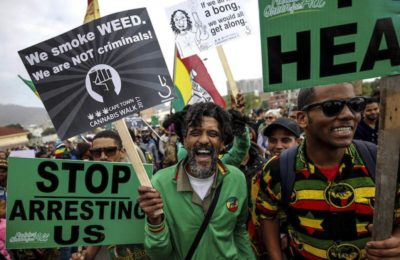 Weed out arrests: Demonstrators in Cape Town march for the legalisation of dagga. (Mike Hutchings/Reuters)
