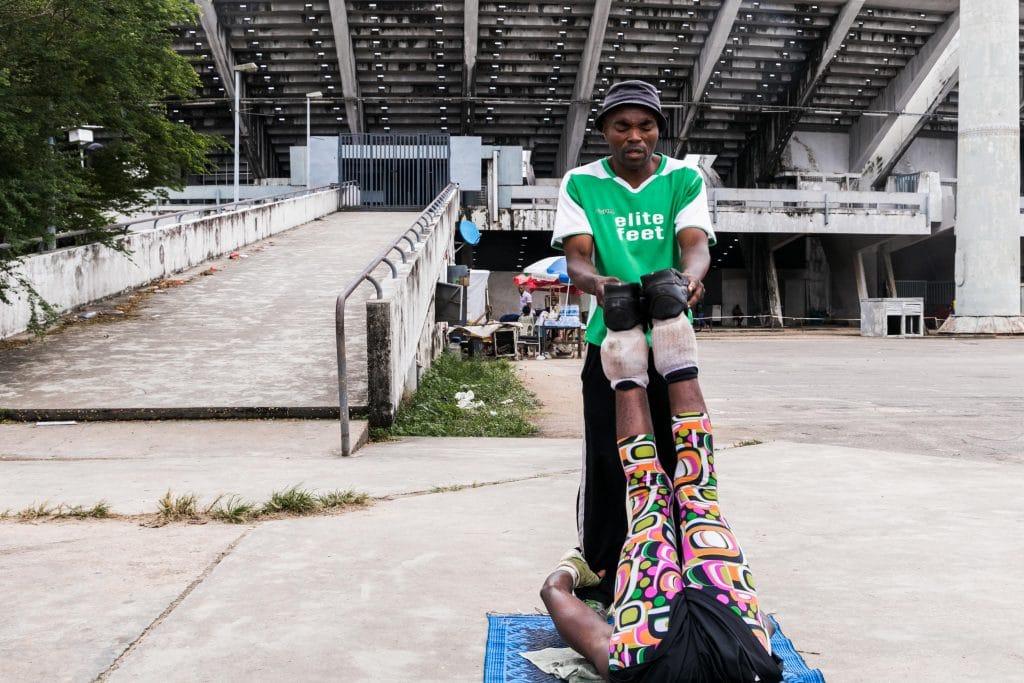 11 July 2019: Coach James Emeka Ike training one of his students outside the National Stadium.