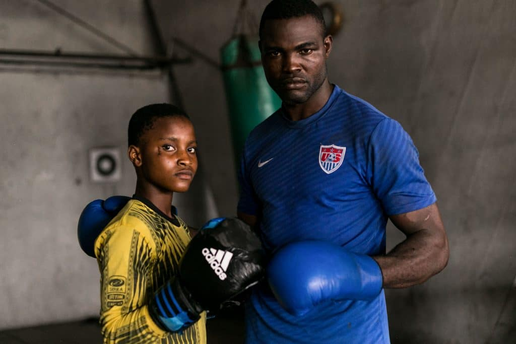 11July 2019: Fartai Balogun brings his 15-year-old daughter, Olamide, with him to training so she can learn to fight and defend herself if necessary.