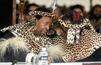 Zulu King Goodwill Zwelithini and Mangosuthu Buthelezi. Picture: RAJESH JANTILAL/Getty Images